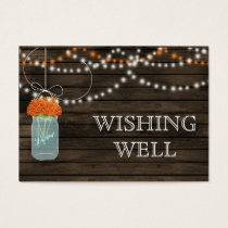 Barnwood mason jars,orange flowers wishing well business card