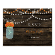 Barnwood mason jars orange wedding RSVP Postcard
