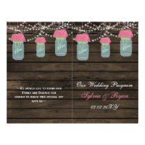 Barnwood mason jars, pink flowers programs folded flyer