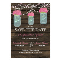 Barnwood mason jars pink flowers save the date card