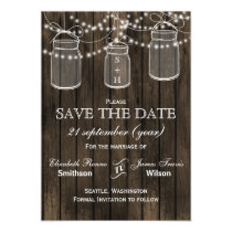 Barnwood mason jars pink flowers save the date magnetic card
