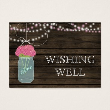 Barnwood mason jars,pink flowers wishing well business card