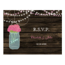 Barnwood mason jars pink wedding RSVP Postcard