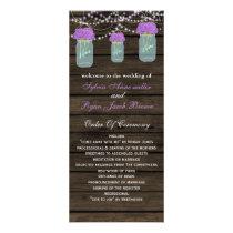 Barnwood mason jars, purple flowers programs