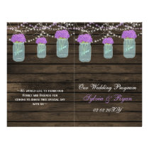 Barnwood mason jars,purple flowers programs folded flyer