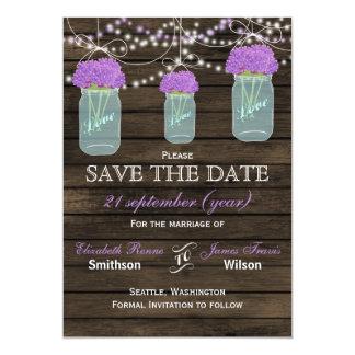 Barnwood mason jars purple flowers save the date card