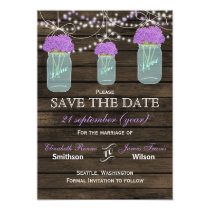 Barnwood mason jars purple flowers save the date card