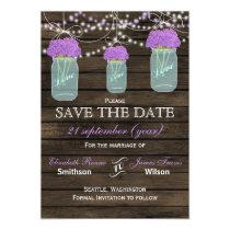 Barnwood mason jars purple flowers save the date magnetic card
