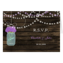 Barnwood mason jars purple flowers wedding RSVP Card