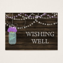 Barnwood mason jars,purple flowers wishing well business card