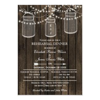 Barnwood,mason jars rustic rehearsal dinner invite