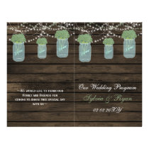 Barnwood mason jars, sage flowers programs folded flyer