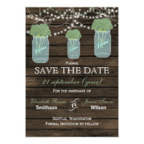 Barnwood mason jars sage flowers save the date card