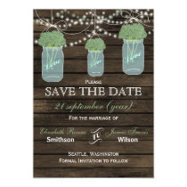 Barnwood mason jars sage flowers save the date magnetic card