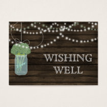 Barnwood mason jars,sage flowers wishing well business card