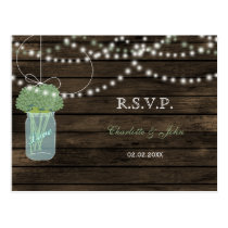 Barnwood mason jars sage wedding RSVP Postcard