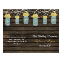 Barnwood mason jars,yellow flowers programs folded flyer