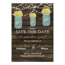 Barnwood mason jars yellow flowers save the date card