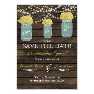 Barnwood mason jars yellow flowers save the date card