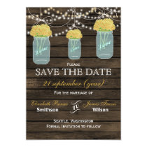 Barnwood mason jars yellow flowers save the date magnetic card