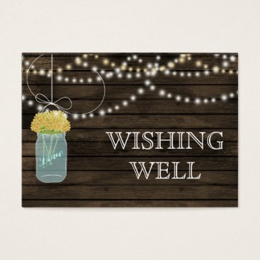 Barnwood mason jars,yellow flowers wishing well business card