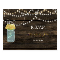 Barnwood mason jars yellow wedding RSVP Postcard