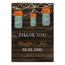 Barnwood orange floral mason jars  Thank You Card