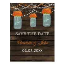 Barnwood orange flowers mason jars save dates postcard