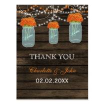 Barnwood orange flowers mason jars Thank You notes