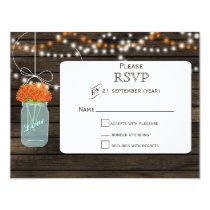 Barnwood orange flowers mason jars wedding RSVP Card