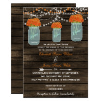 Barnwood, orange mason jar wedding card