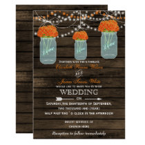 Barnwood, orange mason jar wedding invitations