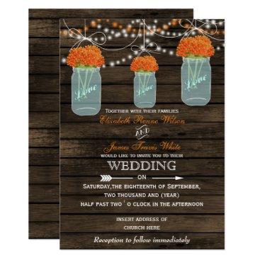 Barnwood, orange mason jar wedding invitations
