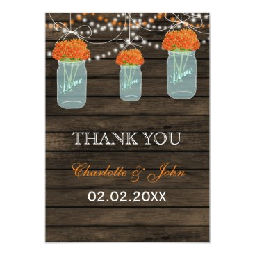 Barnwood orange mason jars Thank You Card