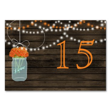 Barnwood orange mason jars wedding table numbers