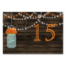 Barnwood orange mason jars wedding table numbers card