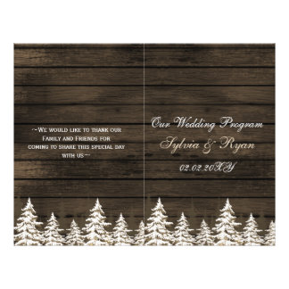 Barnwood Pine trees, winter wedding program folded