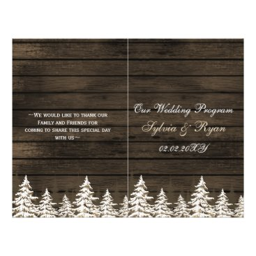 Barnwood Pine trees, winter wedding program folded
