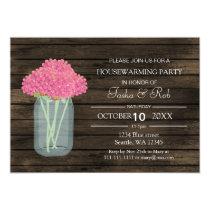barnwood pink floral mason jar Housewarming Invite