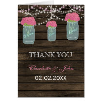 Barnwood  pink floral mason jars  Thank You Card