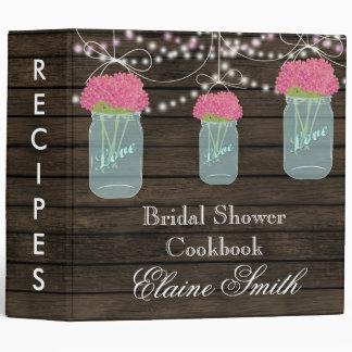 barnwood pink flowers Mason Jar Recipe Folder Binders