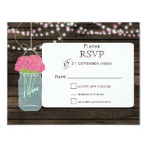 Barnwood  pink flowers mason jars wedding RSVP Card