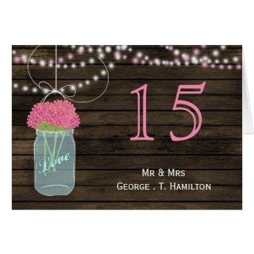 Barnwood  pink mason jars table numbers
