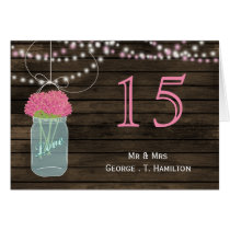 Barnwood  pink mason jars table numbers card