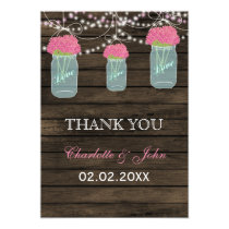 Barnwood  pink  mason jars Thank You Card
