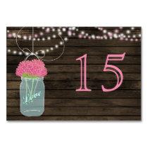 Barnwood  pink mason jars wedding table numbers card