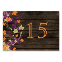 Barnwood plum fall leaves wedding table numbers card