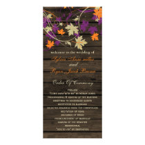 Barnwood plum fall wedding programs tea length