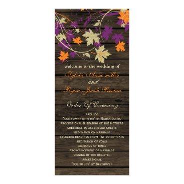Barnwood plum fall wedding programs tea length