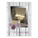 "Barnwood purple daisy Country Wedding Invitation 5"" X 7"" Invitation Card"